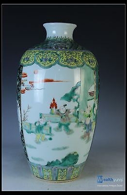 Fine Chinese Beautiful Rare Famille Rose Porcelain Character Vase