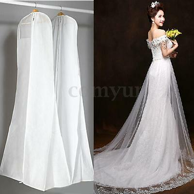 72'' White Breathable Wedding Dress Prom Ball Gown Clothes Garment Zip Bag Cover