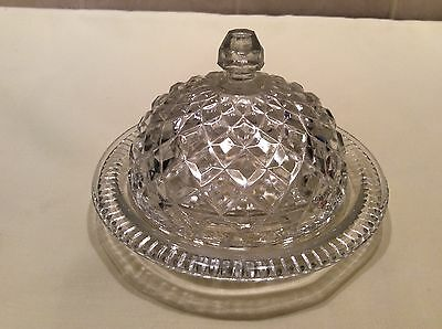 Vintage Round Hobnail Pressed Glass Butter Dish with Lid