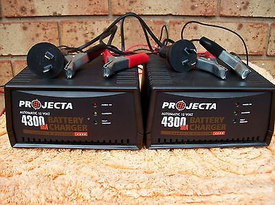 Two Golf 12 volt Projecta 4300 ma Battery Chargers Used