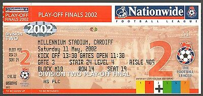 2002 PLAY OFF FINAL - BRENTFORD v STOKE CITY - UNUSED TICKET - POSTFREE