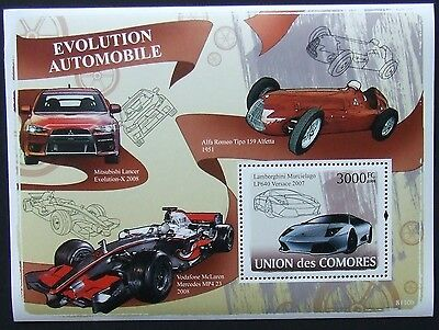 Comoros 2008 - Cars evolution, 1 S/S perforated, MNH, L 347