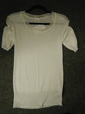 Ladies Winter White Chilprufe Short SleeveThermal Vest Size X Large
