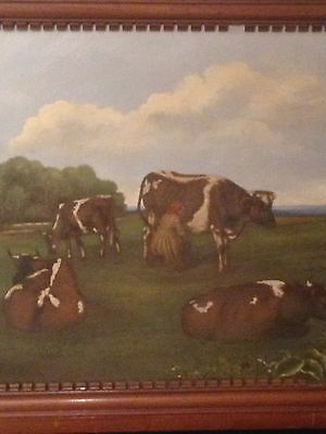 Antique 19th Century After Rare Aster Corbould Oil Painting 1879 Cow Scenes