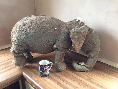 Vintage Stuffed Toy Elephant 1960s Needs TLC Interior Decoration Shabby Chic