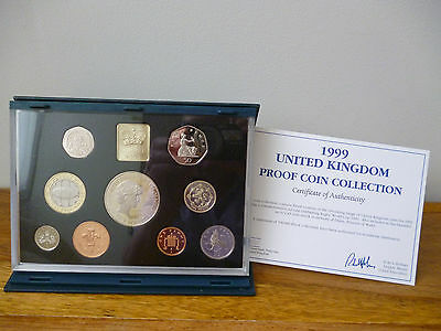 1999 Royal Mint Proof Coin Set Housed In Blue Case  With Outer Card Box/ Leaflet