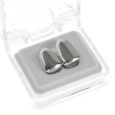 Grillz Platinum Silver Plated Double Hip Hop Bling Tooth Cap Gangster Teeth Clip
