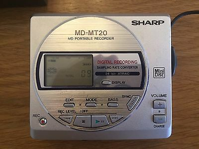 Sharp MD-MT20H Personal Mini Disc Recorder/Player With Discs