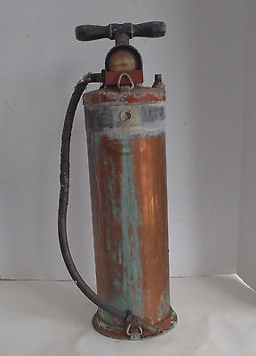 Empty Vintage Pyrene Copper Brass  Fire Extinguisher w pump handle