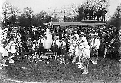 Photographic Glass Negative Nottingham  Clifton Village May Day 1929