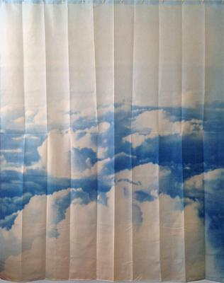 Blue & White Clouds Scene Bathroom Shower Curtain Polyester Hooks 180cm x 180cm