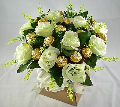 Ferrero Rocher Chocolate & White Roses Flowers Bouquet-Perfect Gift-Sweet Hamper