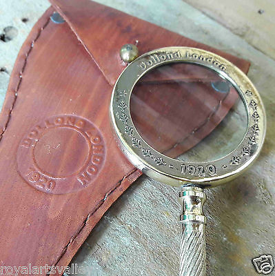 Brass Magnifying Glass Vintage Magnifier With Leather Cover Desktop Item Gift