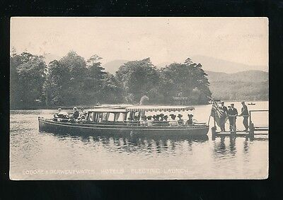 Cumbria LODORE and DERWENTWATER Hotels Electric Launch Used 1906 PPC