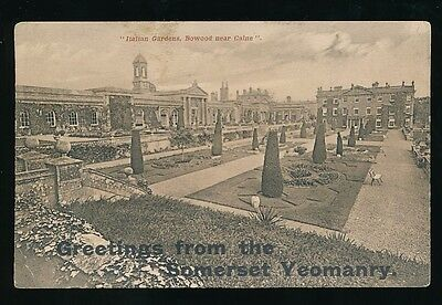 SOMERSET Military Greetings from YEOMANRY Gdns Bowood Calne used 1915 PPC