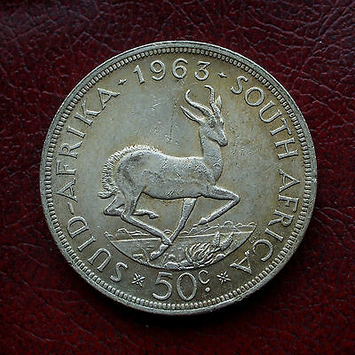 South Africa 1963 silver crown size 50 cents