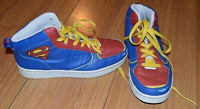 Children's Boys Blue Yellow Red Superman Trainers Shoes In Size Uk 3 Xmas