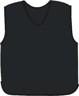 """10 X black training bibs with white side tabs Kids Size large Up to 36"""" Chest"""