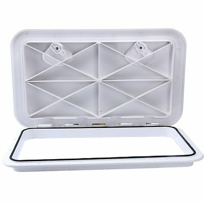 White Heavy duty 607mm x 243mm Deck Access Hatch & Lid-Boat/Marine/Caravan