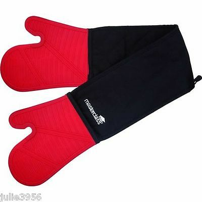 Master Class Double Seamless Silicone Cooking Oven Gloves Mitts W/ Cotton Sleeve