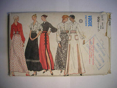 Vintage VOGUE Sewing Pattern 1970s SKIRT & BLOUSE Size 16 Bust 38 #8286 Unused