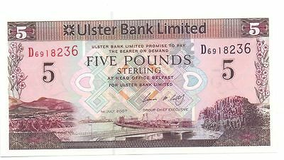 """""""Ulster Bank Limited"""" £5 pounds AUNC Banknote,1st July 2007 Serial D6918236"""""""