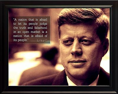John F Kennedy JFK Photo Picture, Poster or Framed Quote A Nation that is afraid