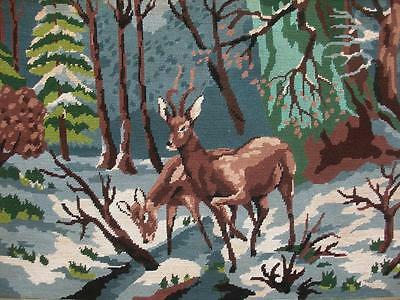 """vintage completed Royal Paris cotton needlepoint deer in the snow 25""""x17.8"""""""