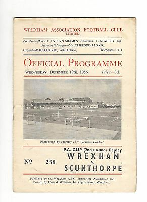 Wrexham v Scunthorpe United 1956 - 1957  FA Cup 2nd round replay
