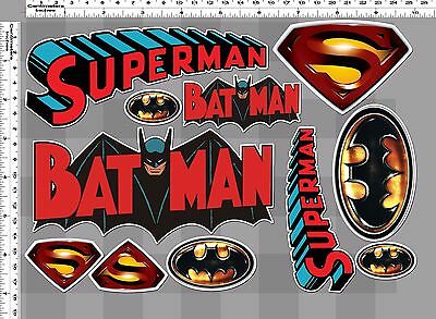 1 set vintage batman superman logo emblem decal sticker print die-cut out vinyl