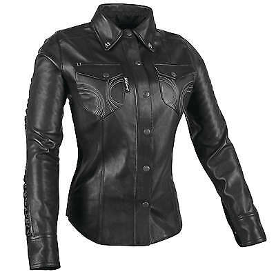 Speed and Strength Women's Black Heart Leather Moto Shirt Black Sm
