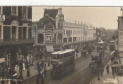 Real Photo LONDON Brixton Road BUSES & TRAMS Busy Streetscene