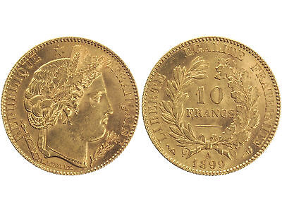France 10 Francs Or 1899 A Ceres French Gold Coin Fr 3.22G