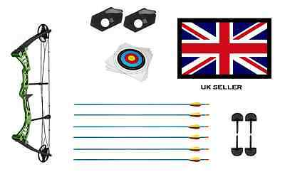 GREEN DRAGON ADULT COMPOUND ARCHERY BOW 30-55lbs + 6 ARROWS & 10 X 40CM TARGETS