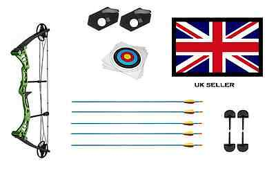 GREEN DRAGON ADULT COMPOUND ARCHERY BOW 30-55lbs + 5 ARROWS & 10 X 40CM TARGETS