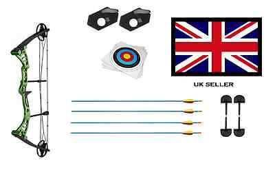 GREEN DRAGON ADULT COMPOUND ARCHERY BOW 30-55lbs + 4 ARROWS & 10 X 40CM TARGETS