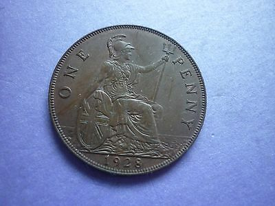 Gt Britain -High Collectable Grade 1928 George V Bronze Penny With Traces Lustre