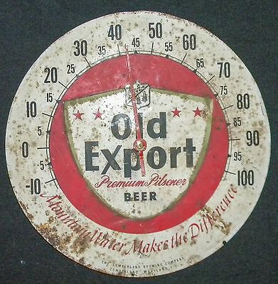 """Vintage Old Export Advertising Thermometer 10"""" ORIGINAL Cumberland Maryland"""