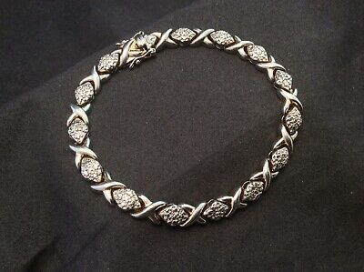 Sterling Silver - XOXO DIAMOND Accent Tennis 13.5g SIGNED DL Bracelet 7.75""