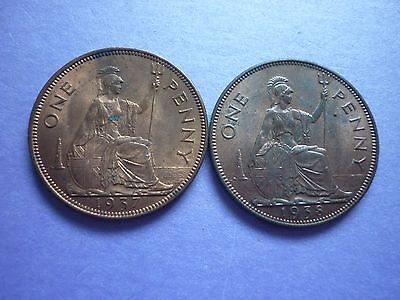 Gt Britain - High Collectable Grade 1937 & 1938 George Vi Pennies With Lustre