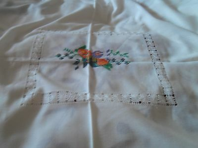"vintage cross stitch cut out work fringed table cloth approx 75x61""  3 x napkins"