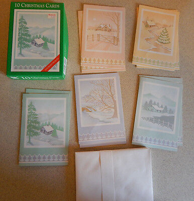 Box of 10 Vintage Christmas Cards By Fantus Fantusy Unused New Old Stock #G