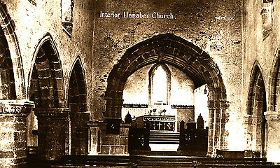 MERIONETHSHIRE - Early RP postcard of Llanaber Church (INTERIOR)