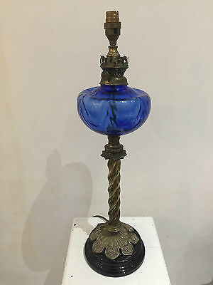 Stunning Antique Converted Oil Lamp Blue Font With Brass Barley Twist Base