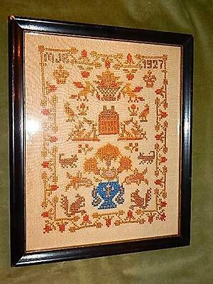 1927 Vintage Count & Cross Stitch Embroidery Sampler