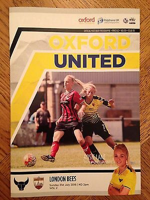 Oxford United Ladies v London Bees - WS League Programme - 31/7/16