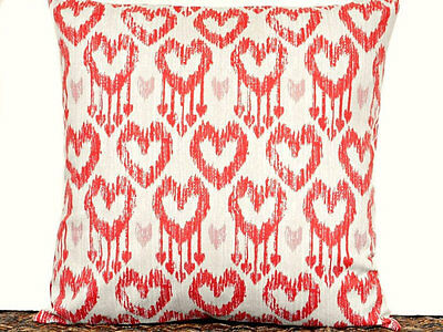 Ikat Heart Valentine Pillow Cover Repurposed Beige Red Pink Decorative 16x16
