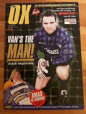 Football Programme: Oxford United v Ipswich - League Cup - November 18th 1997