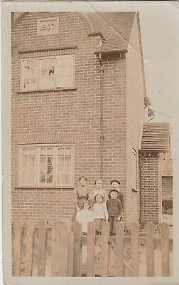RP Postcard by Long of Reading. Family outside home built in 1907.   READING.