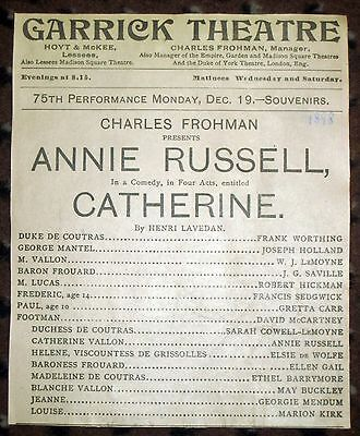 Catherine Ethel Barrymore Early Partial Program 1898 Garrick Theatre Annie Russe